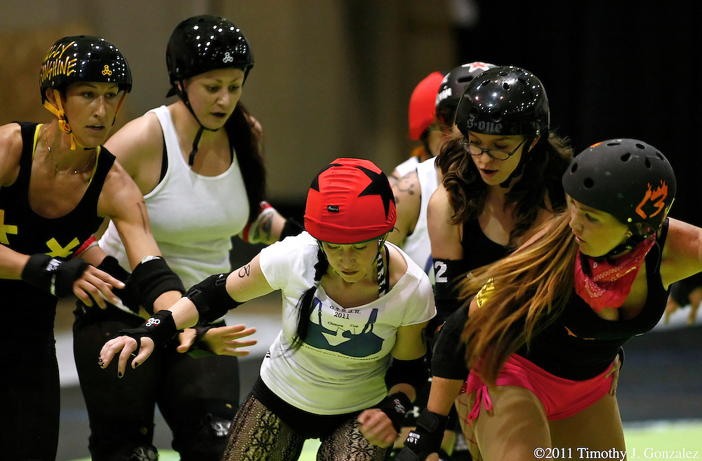 Over the Shoulder Boulder Holders vs the Itty-Bitty Titty Committee on the third day of RollerCon 2011 at the Riviera Hotel and Convention Center, in Las Vegas, Nevada, on Friday, July 29, 2011.