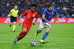 REISS NELSON (ENGLAND) VS GIUSEPPE PEZZELLA (ITALY)<br /> Football friendly match Italy vs England u21<br /> Ferrara Italy November 15, 2018<br /> Photo by Filippo Rubin