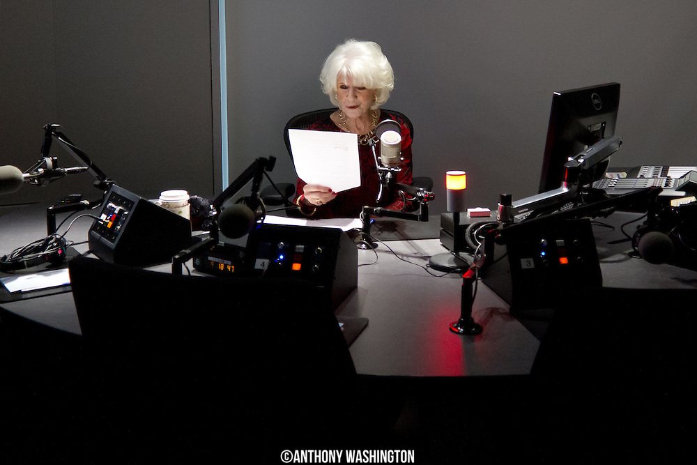 Diane Rehm, host of The Diane Rehm Show, records the opening billboard before hosting her final show on Friday, December 23, 2017 at WAMU 88.5 in Washington, DC.