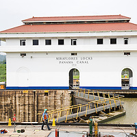 Men doing maintenance to the locks, Panama Canal, Panama, Central America
