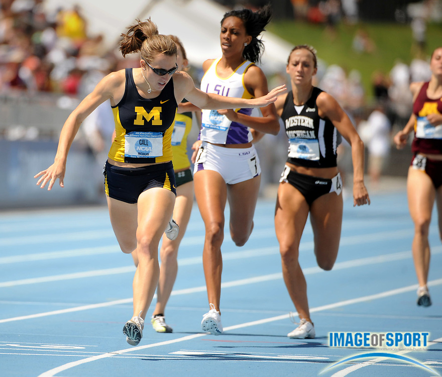 Jun 14, 2008; Des Moines, IA; Geena Gall of Michigan wins the women's 800m in 2:03.91 in the NCAA Track & Field Championships at Drake Stadium.