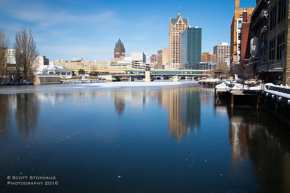 Iced over Milwaukee River in Downtown Milwaukee