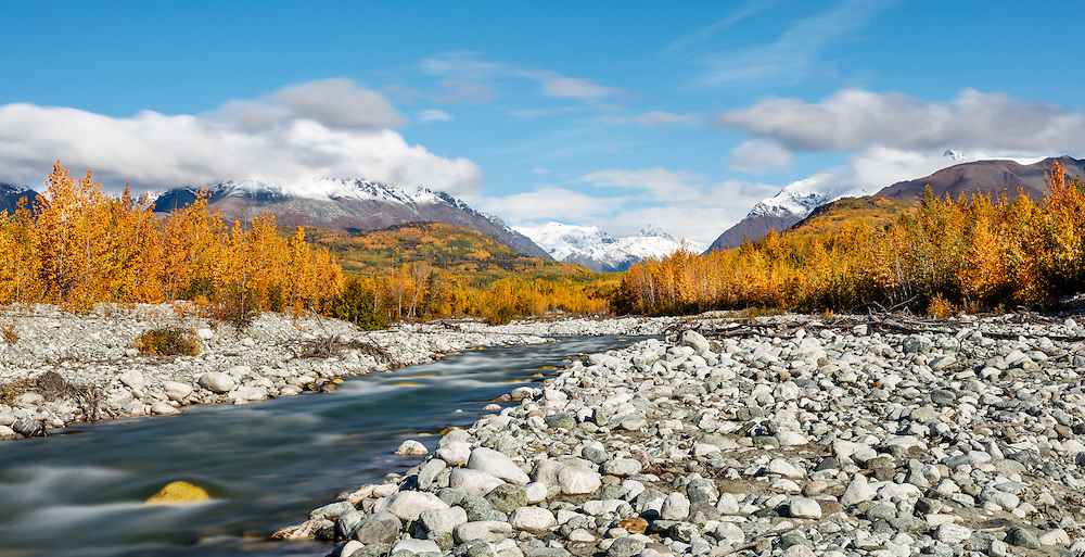 Long exposure of Granite Creek and Talkeetna Mountains along the Matanuska Valley in Southcentral Alaska. Autumn. Morning.