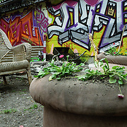 Europe; Germany; Berlin; East Berlin; Warschauer Strasse; squat; squatted home; commune; occupied home; young people; smocking; pot; marijuana; house project; group; indoor; dirty; colourful; graffiti; house paint; murals; messy; hippy