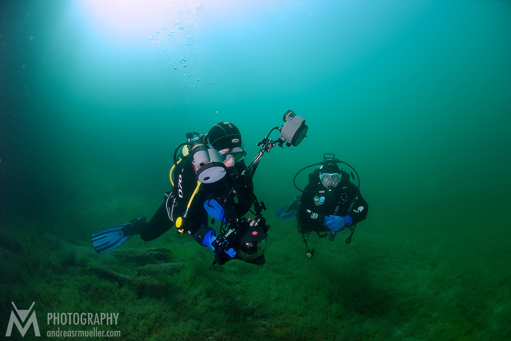 Underwater landscape at Fernsteinsee, Austria. Interesting cold water natural cover. Crystal clear water and spectacular illumination.