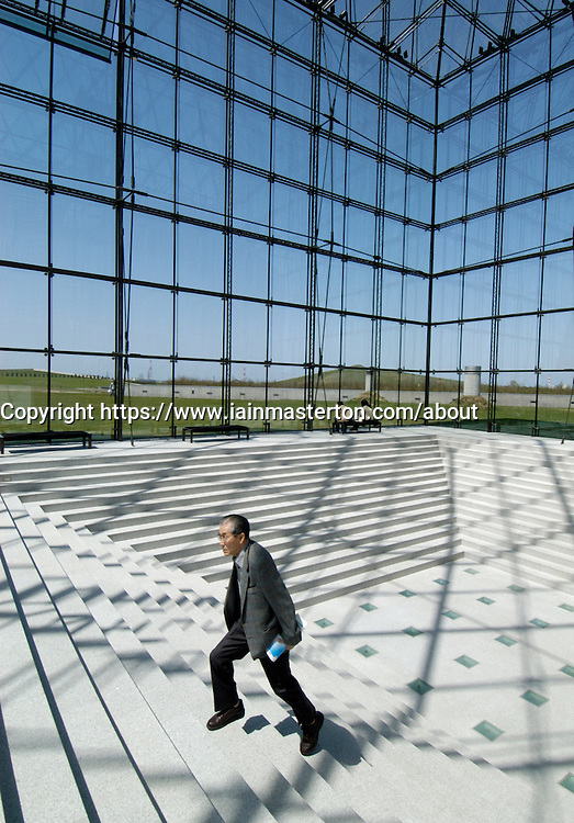 Interior of glass pyramid called Hidamari at Moerenuma Park in Sapporo Japan