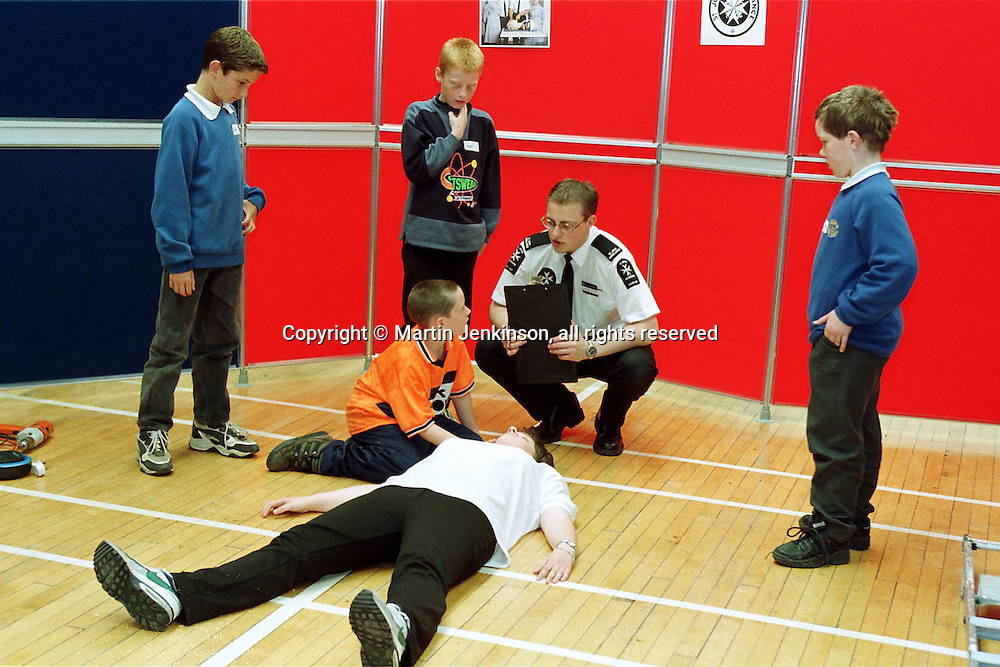Primary (Junior) school pupils undergo testing on real life safety and first aid procedures....