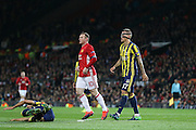 Wayne Rooney Forward of Manchester United and Fenerbahce Defender Martin Skrtel during the Europa League match between Manchester United and Fenerbahce at Old Trafford, Manchester, England on 20 October 2016. Photo by Phil Duncan.