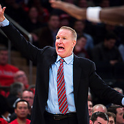 January 9, 2018, New York, NY : St. John's head coach Chris Mullin calls to his players from the sidelines during Tuesday night's matchup between the Hoyas and Red Storm at the Garden. In something of a rematch of their 1985 contest, Basketball greats Patrick Ewing and Chris Mullin returned to Madison Square Garden on Tuesday night to face off as coaches with their respective Georgetown and St. John's teams.  CREDIT: Karsten Moran for The New York Times
