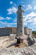 A cannon on display at the base of Faro Castillo del Morro , Havana, Cuba