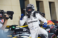 Valtteri Bottas of Mercedes AMG Petronas after winning his maiden pole position during the Bahrain Formula One Grand Prix Qualifying session at the International Circuit, Sakhir<br /> Picture by EXPA Pictures/Focus Images Ltd 07814482222<br /> 15/04/2017<br /> *** UK &amp; IRELAND ONLY ***<br /> <br /> EXPA-EIB-170415-0329.jpg