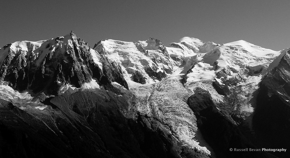 Mont Blanc & the Aiguille du Midi in the Chamonix Valley, France