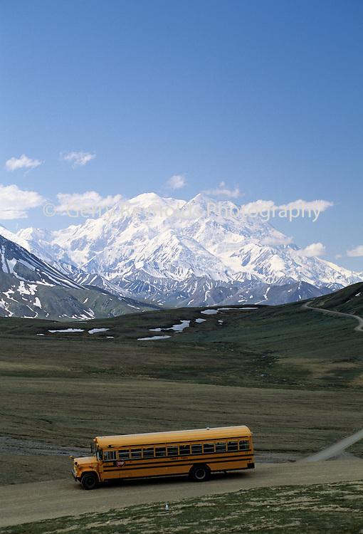 Mount McKinley Mt. McKinley, Shuttle Bus, Denali Park Road, Denali National Park, Alaska
