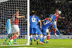 Aden Flint of Bristol City heads towards goal - Mandatory byline: Dougie Allward/JMP - 07966 386802 - 20/10/2015 - FOOTBALL - American Express Community Stadium - Brighton, England - Brighton v Bristol City - Sky Bet Championship
