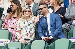 © Licensed to London News Pictures. 13/07/2019. London, UK. Jodie Whittaker and Christian Contreras watch the ladies singles finals on centre court tennis on Day 12 of the Wimbledon Tennis Championships 2019 held at the All England Lawn Tennis and Croquet Club. Photo credit: Ray Tang/LNP