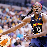 03 August 2014: Connecticut Sun forward Chiney Ogwumike (13) is seen during the Los Angeles Sparks 70-69 victory over the Connecticut Sun, at the Staples Center, Los Angeles, California, USA.