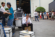 GUANGZHOU, CHINA - OCTOBER 02: (CHINA OUT)<br /> <br /> Chinese Obama Imitator<br /> <br /> Xiao Jiguo who is famous for imitating American President Obama smokes after shooting a scene of a comedy at a warehouse on October 2, 2015 in Guangzhou, China. Xiao Jiguo, born in Sichuan province, was well-known as an imitator of American President Barack Hussein Obama after acting in a Chinese entertainment program. He became a star among the commercial events and acted in a comedy during the Chinas National Day Holiday in Guangzhou.<br /> ©Exclusivepix Media
