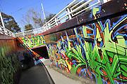 Graffiti art mural at underground walkway, Saint Kilda, Melbourne, Australia