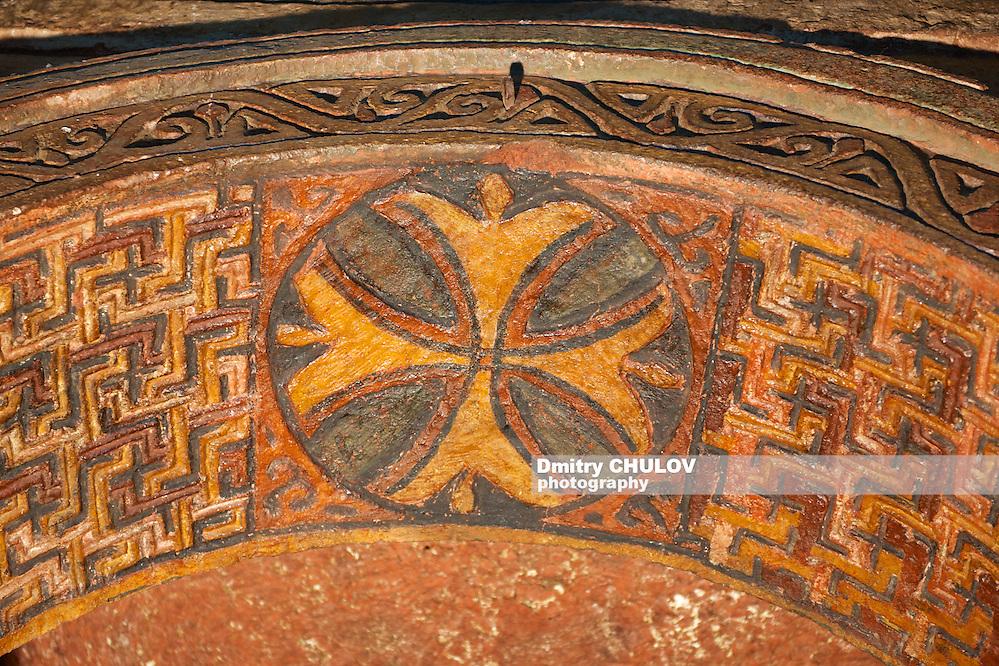 Ceiling decoration, rock-hewn church, Lalibela, Ethiopia. UNESCO World Heritage site.