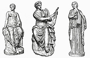 Muses of music and dance. Left to right: Euterpe inventor of double flute, associated with Dionysiac music and pleasure; Erato muse of erotic poetry; Terpsichore muse of Dance.  19th century engraving.