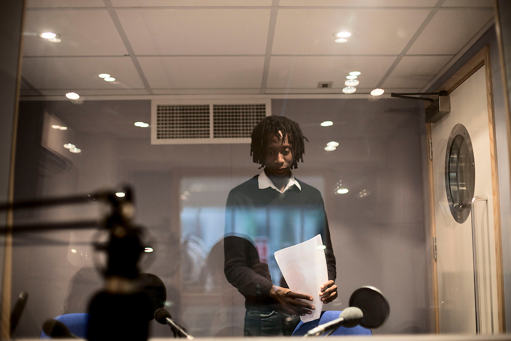 In the studio of French Radio London, a London based French speaking radio station. London, UK 2011
