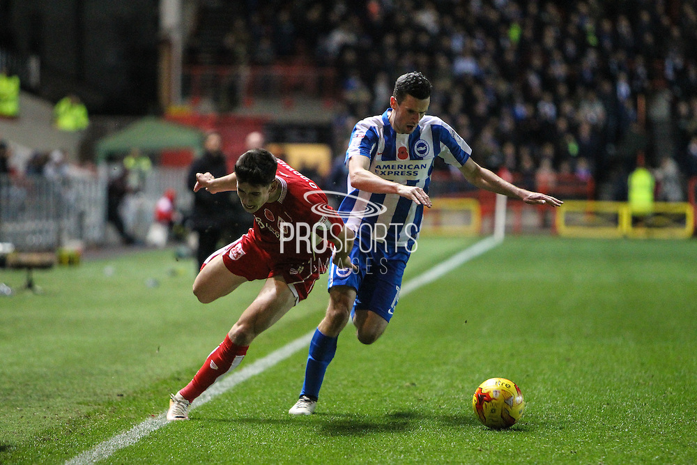 Callum O'Dowda of Bristol City and Jamie Murphy of Brighton & Hove Albion during the EFL Sky Bet Championship match between Bristol City and Brighton and Hove Albion at Ashton Gate, Bristol, England on 5 November 2016. Photo by Andrew Lewis.