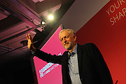 Labour Party Leadership Conference<br /> QE11 Centre, Westminster, London.Westminster<br /> Conference called to announce the results of the elections for position of Labour Party leader and deputy leader.<br /> <br /> Jeremy Corbyn, newly elected leader of the Labour Party, acknowledges the conference applause following his acceptance speech.