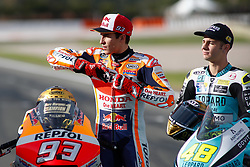 November 17, 2019, Cheste, VALENCIA, SPAIN: Marc Marquez, rider of Repsol Honda Team from Spain, and Lorenzo Dalla Porta, raider of Leopard Racing from Italy, looks on attends during the World Champion photo during the Valencia Grand Prix of MotoGP World Championship celebrated at Circuit Ricardo Tormo on November 16, 2019, in Cheste, Spain. (Credit Image: © AFP7 via ZUMA Wire)