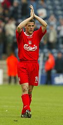 WEST BROMWICH, ENGLAND - Saturday, April 26, 2003: Four goal hero Michael Owen applauds the fans after his side's 6-0 victory over West Bromwich Albion during the Premiership match at the Hawthorns. (Pic by David Rawcliffe/Propaganda)
