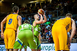 Alen Omic of Slovenia vs Kyryl Fesenko of Ukraine during friendly basketball match between National teams of Slovenia and Ukraineat day 1 of Adecco Cup 2015, on August 21 in Koper, Slovenia. Photo by Grega Valancic / Sportida