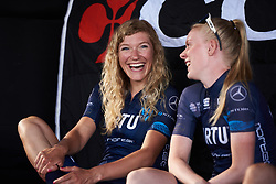 Claudia Koster (NED) laughs with herTeam Virtu Cycling Women teammates at Giro Rosa 2018 - Team Presentation in Verbania, Italy on July 5, 2018. Photo by Sean Robinson/velofocus.com
