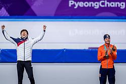 24-02-2018: Olympische Spelen: Dag 15: Pyeongchang<br /> Koen Verweij heeft Nederland op de Winterspelen het brons bezorgd op de massastart. Links de winnaar Seung-Hoon Lee uit Zuid-Korea.