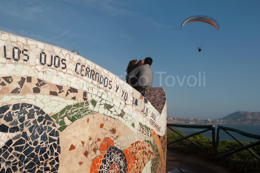 """The """"Parque del amor"""" is a tiled garden on the cliff. And 'one of the key points of sightseeing, with a touch of romance"""