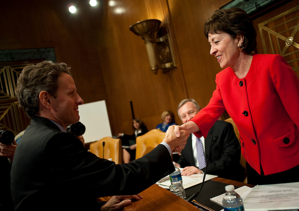 Apr 29,2010 - Washington, District of Columbia USA -.Treasury Secretary Timothy Geithner greets Maine Senator Susan Collins before he testifies before the Financial Services and General Government Subcommittee hearing on Thursday..(Credit Image: © Pete Marovich/ZUMA Press)