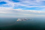Nederland, Flevoland, Markermeer, 04-11-2018; Marker Wadden in het Markermeer, gezien vanaf de Markerwaarddijk / Houtribdijk, N302, nabij Lelystad. Aanleg Natuurgebied. <br /> <br /> Marker Wetlands, artifial islands.<br /> <br /> luchtfoto (toeslag op standaard tarieven);<br /> aerial photo (additional fee required);<br /> copyright © foto/photo Siebe Swart