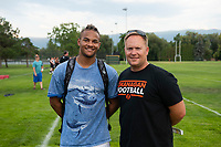 KELOWNA, CANADA - JULY 17:  Nick Ross from Regina Saskatchewan, touted as the best defensive football player in Canada, stands on the field with coach Johannes Van Leenan as the Okanagan Sun football season gets underway with Day of training camp on July 17, 2018 at the Apple Bowl in Kelowna, British Columbia, Canada.  (Photo by Marissa Baecker/Shoot the Breeze)  *** Local Caption ***
