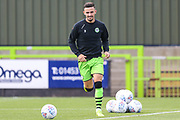 Forest Green Rovers Liam Shephard(2) warming up during the EFL Sky Bet League 2 match between Forest Green Rovers and Crawley Town at the New Lawn, Forest Green, United Kingdom on 5 October 2019.
