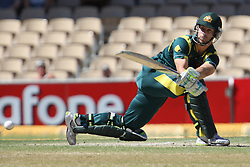 © Licensed to London News Pictures. 08/03/2012. Adelaide Oval, Australia. Matthew Wade plays a sweep shot during the One Day International cricket match final between Australia Vs Sri Lanka. Photo credit : Asanka Brendon Ratnayake/LNP
