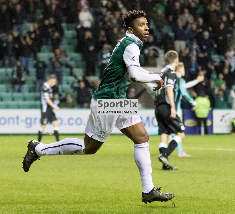 Hibernian's Dom Malonga celebrates his last minute winner that puts Hib's going top of the league in the Hibernian vs Queen of the South Scottish Championship 19th December 2015......(c) MARK INGRAM | SportPix.org.uk