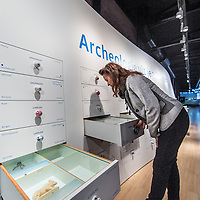 Nederland, Leiden, 4 november 2016.<br /> Kast met archeologische vondsten. <br /> Enorme ladenkast geeft overzicht van archeologische vondsten uit heel Nederland in het Rijksmuseum voor Oudheden.<br /> NB vrouw op de foto os NIET Anna de Wit!<br /> <br /> Netherlands, Leiden, November 4, 2016.<br /> Closet with archaeological finds.<br /> Huge chest of drawers gives overview of archaeological finds from all over the Netherlands in the Rijksmuseum of Antiquities.<br /> Woman in the picture is NOT Anna de Wit!<br /> <br /> Foto: Jean-Pierre Jans