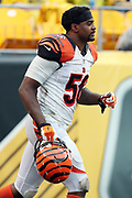 Cincinnati Bengals linebacker Karlos Dansby (56) runs onto the field for the second half during the 2016 NFL week 2 regular season football game against the Pittsburgh Steelers on Sunday, Sept. 18, 2016 in Pittsburgh. The Steelers won the game 24-16. (©Paul Anthony Spinelli)