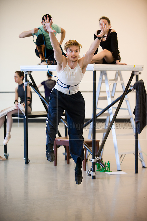 Wellington, NZ. 26.09.2013. Prokofiev's PETER AND THE WOLF, from The Royal New Zealand Ballet. Coverage of rehearsals with choreographers Catherine Eddy & Brendan Bradshaw, at the company's studios in the St James Theatre building. Photo credit: Stephen A'Court.  COPYRIGHT ©Stephen A'Court