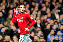 Swansea City's Michu celebrates his opening goal in front of the home fans at Stamford Bridge - Photo mandatory by-line: Dougie Allward/JMP - Tel: Mobile: 07966 386802 09/01/2013 - SPORT - FOOTBALL - Stamford Bridge - London  -  Chelsea v Swansea City - Capital One Cup Semi-Final First Leg.
