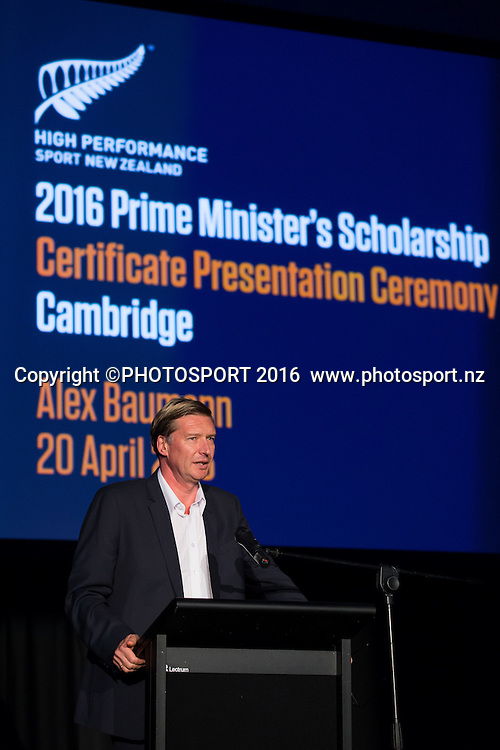 Alex Baumann, CE of HPSNZ at the High Performance Sport NZ Waikato ceremony for the Prime Minister's Scholarship Awards, at Sir Don Rowlands Centre, Lake Karapiro, Cambridge, New Zealand, 20 April 2016. Copyright Photo: Stephen Barker / www.photosport.nz