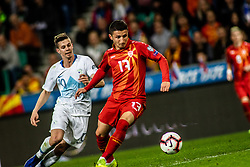Miha Zajc of Slovenia vs Enis Bardi of Macedonia during football match between National teams of Slovenia and North Macedonia in Group G of UEFA Euro 2020 qualifications, on March 24, 2019 in SRC Stozice, Ljubljana, Slovenia.  Photo by Matic Ritonja / Sportida