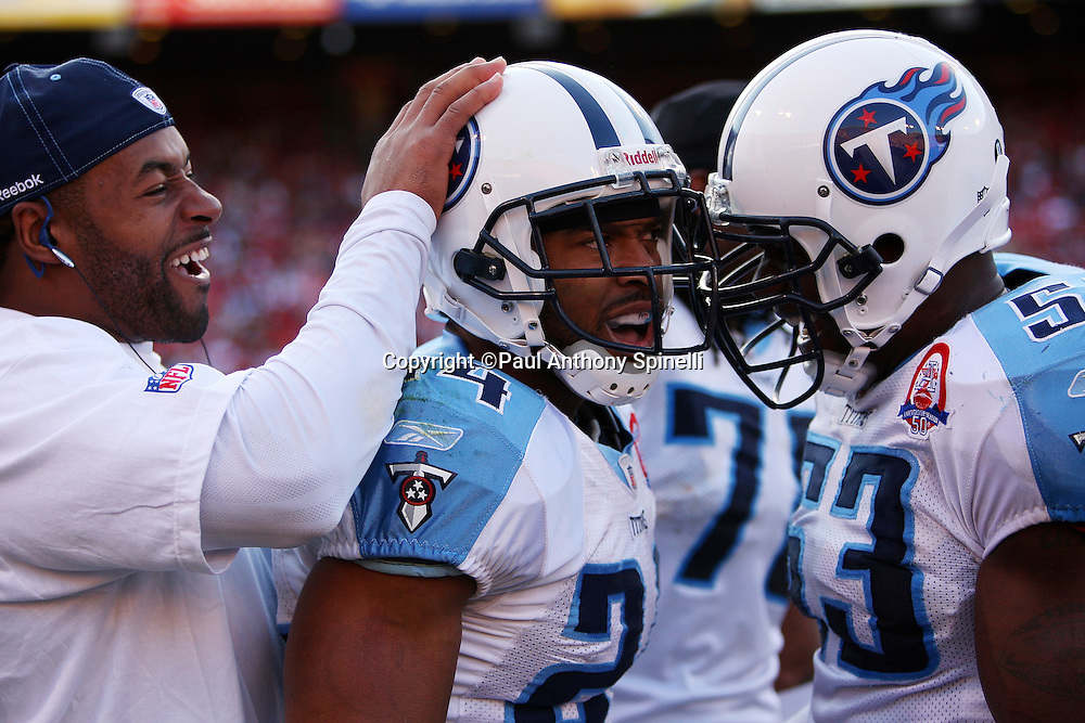 Tennessee Titans safety Chris Hope (24) gets congratulations from teammates after intercepting a pass in the fourth quarter during the NFL football game against the San Francisco 49ers, November 8, 2009 in San Francisco, California. The Titans won the game 34-27. (©Paul Anthony Spinelli)