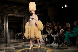 © Licensed to London News Pictures. 14/09/2018. LONDON, UK.  A model presents a look by Pam Hogg during Fashion Scout SS19, an off schedule show at Freemasons Hall in Covent Garden, on the opening day of London Fashion Week.  Photo credit: Stephen Chung/LNP
