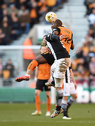 Watford's Adlene Guedioura and Wolves' Benik Afobe compete for the ball - Photo mandatory by-line: Paul Knight/JMP - Mobile: 07966 386802 - 07/03/2015 - SPORT - Football - Wolverhampton - Molineux Stadium - Wolverhampton Wanderers v Watford - Sky Bet Championship