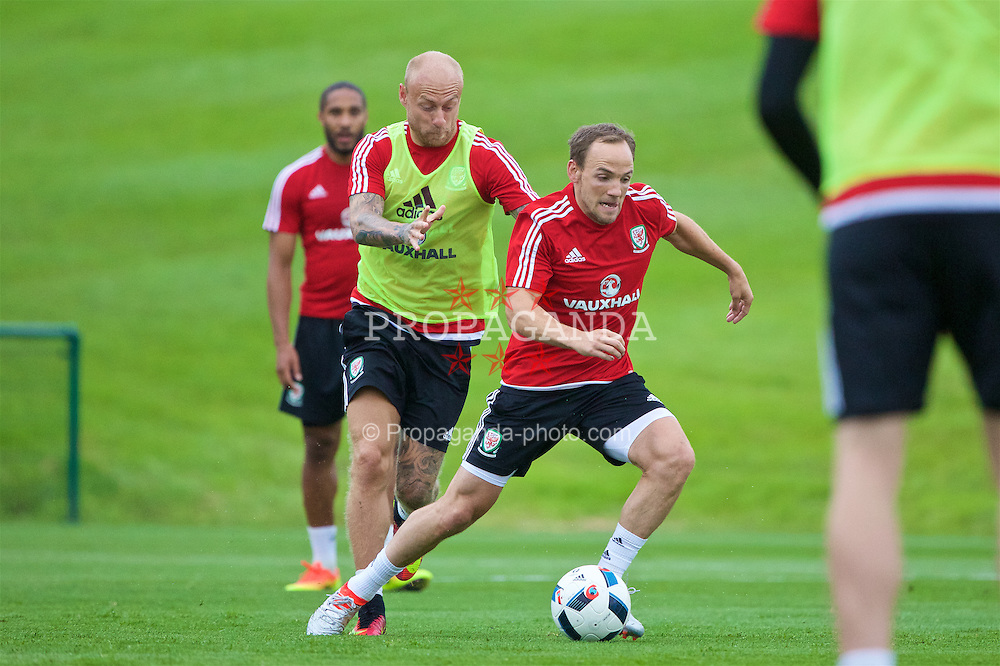 CARDIFF, WALES - Wednesday, June 1, 2016: Wales' David Cotterill and David Vaughan during a training session at the Vale Resort Hotel ahead of the International Friendly match against Sweden. (Pic by David Rawcliffe/Propaganda)