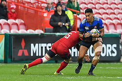 Timothy Lafaele of Japan is tackled by Vasily Artemyev of Russia <br /> <br /> Photographer Craig Thomas<br /> <br /> Japan v Russia<br /> <br /> World Copyright ©  2018 Replay images. All rights reserved. 15 Foundry Road, Risca, Newport, NP11 6AL - Tel: +44 (0) 7557115724 - craig@replayimages.co.uk - www.replayimages.co.uk